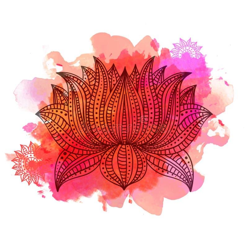 美丽的Boho样式莲花 向量例证