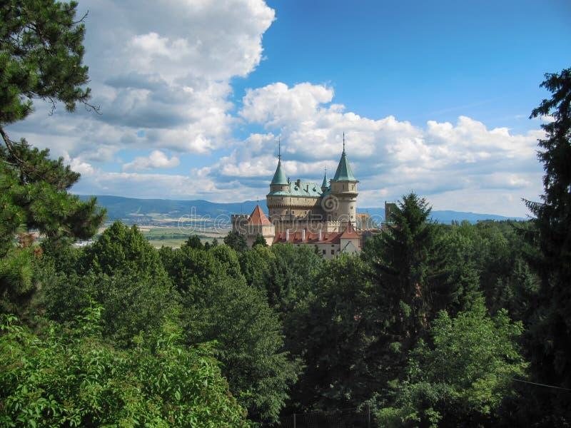 美丽的Bojnice城堡 库存照片