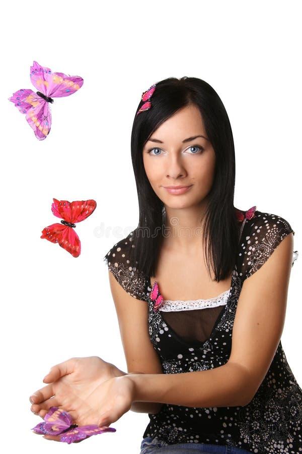 美丽的butterflys女孩 免版税库存照片