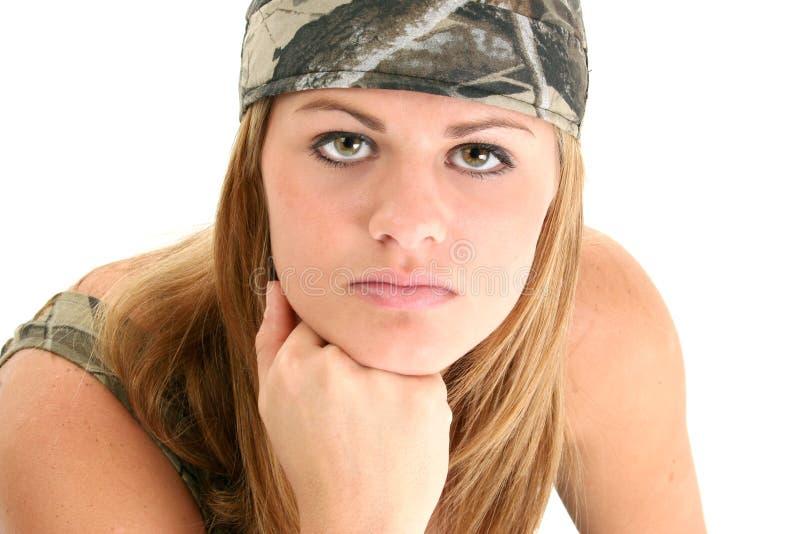 美丽的camo妇女年轻人 库存图片