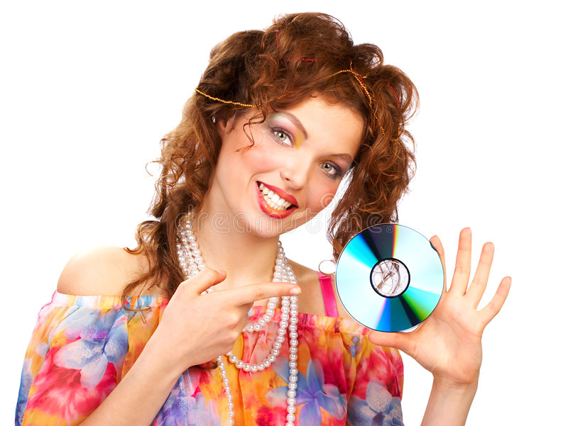 美丽的CD的妇女 免版税库存图片