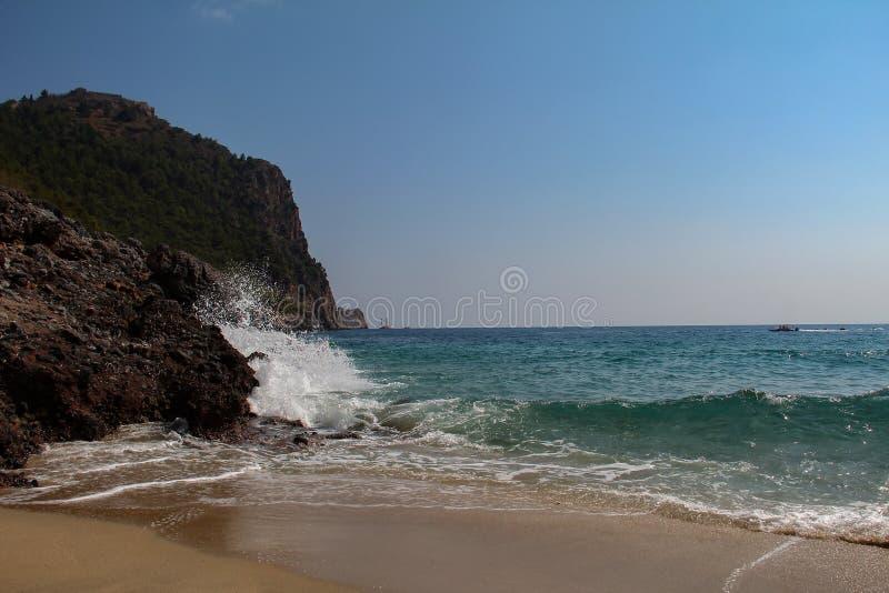 美丽的Cleopatras海滩在阿拉尼亚在土耳其 免版税图库摄影