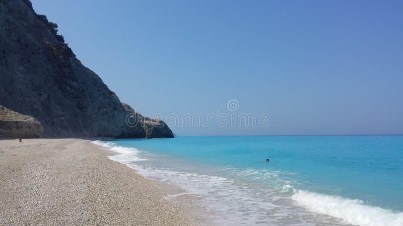 美丽的Egremni海滩,希腊 库存图片