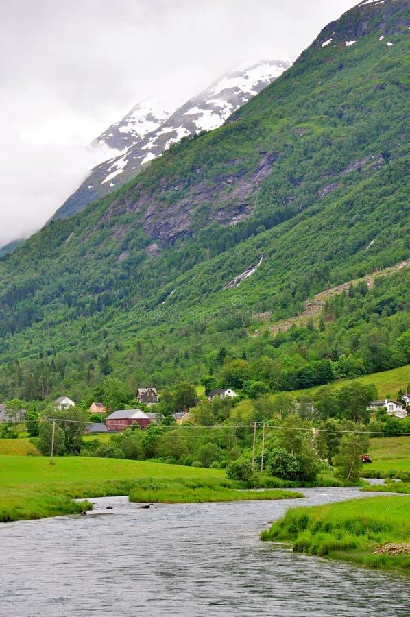 美丽的Flam村庄在挪威 库存图片