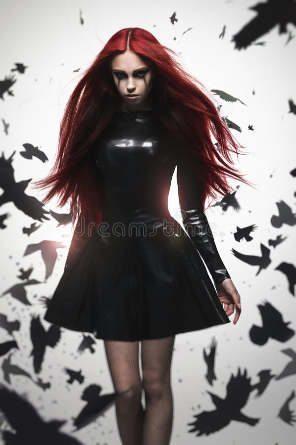 美丽的goth女主人罪恶女孩 库存照片