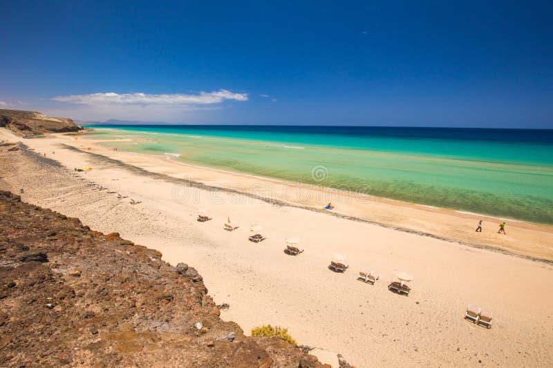美丽的Mal Nobre沙滩, Jandia,费埃特文图拉岛,加那利群岛,西班牙 免版税图库摄影