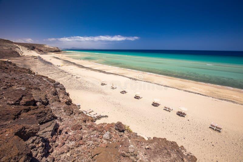 美丽的Mal Nobre沙滩, Jandia,费埃特文图拉岛,加那利群岛,西班牙 库存照片