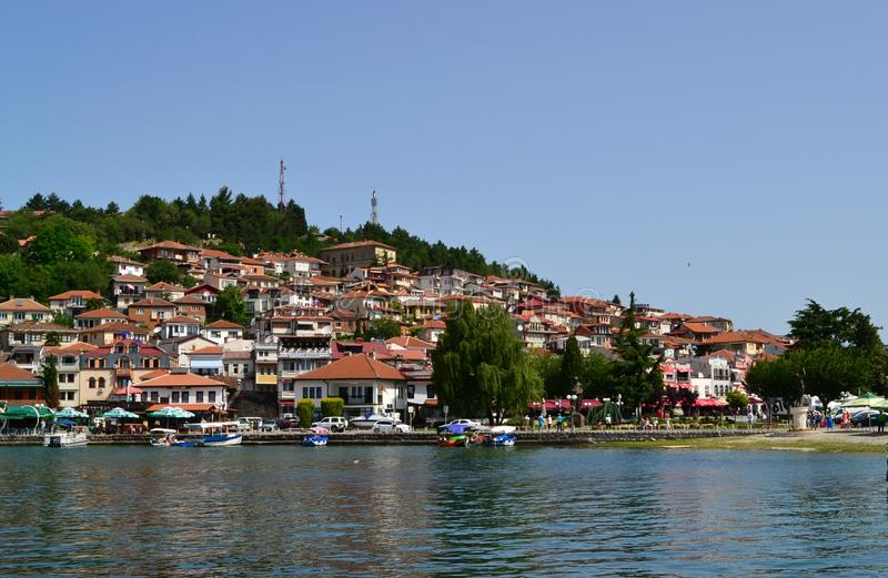美丽的Ohrid湖 免版税库存照片