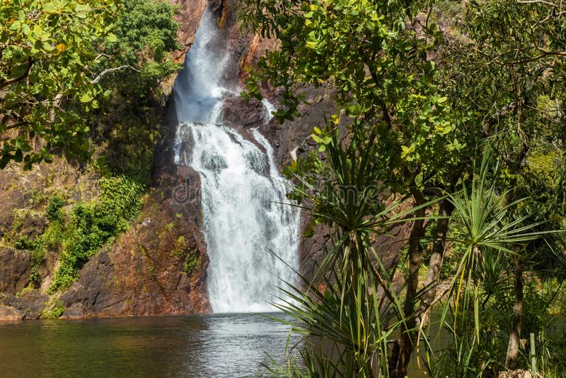 美丽的wangi瀑布在litchfield国立公园,北方领土 库存图片