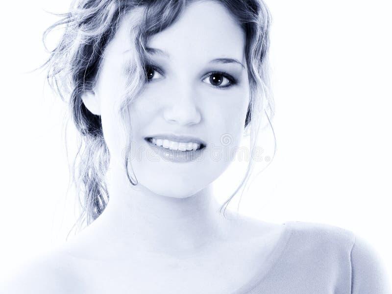 美丽蓝色女孩老纵向十六青少年的口&# 免版税库存图片