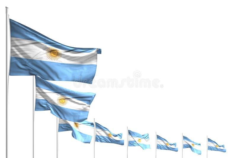 美丽许多阿根廷旗子在与地方的白色安置了被隔绝的对角线内容的-所有假日旗子3d例证 库存例证