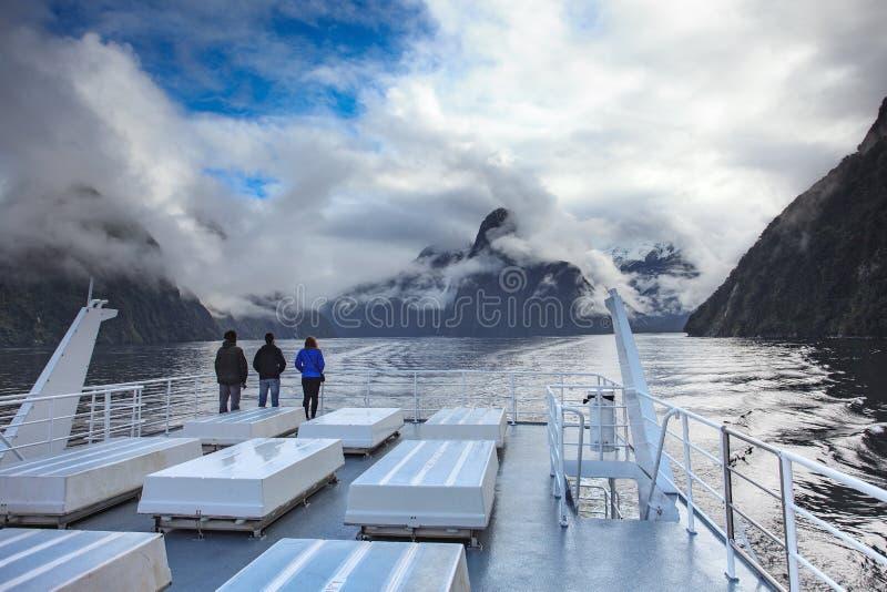 美丽风景Milford Sound在新fiordland的国家公园 库存照片