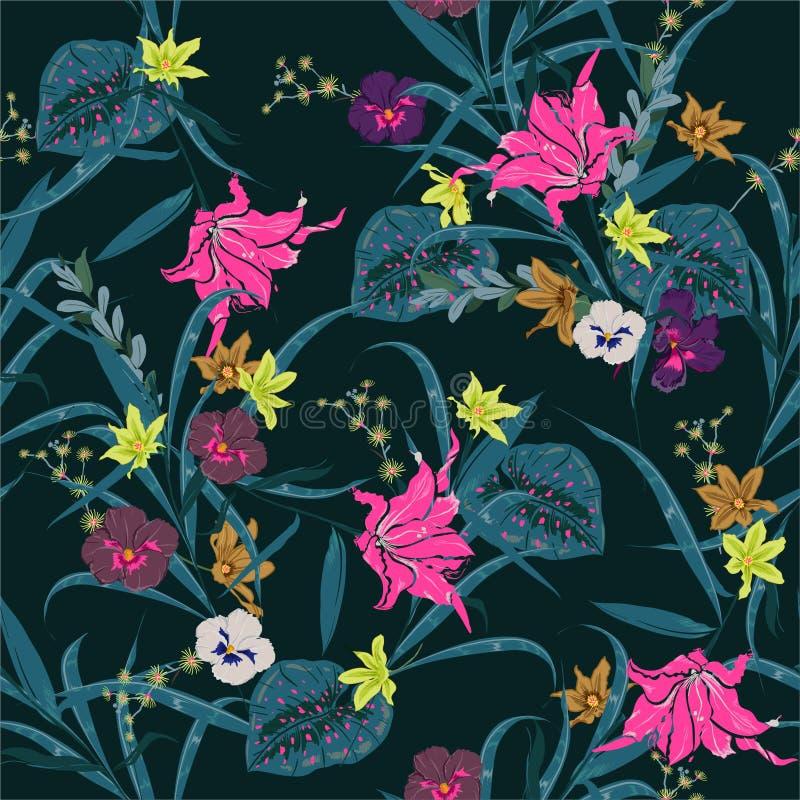 美丽黑暗热带和开花植物的与异乎寻常的花和叶子的植物无缝的样式 E 库存例证