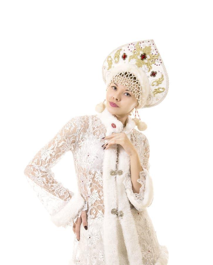美丽,愉快,情感年轻女人打扮象圣诞老人项目微笑 圣诞节新的年狂欢节 免版税库存照片