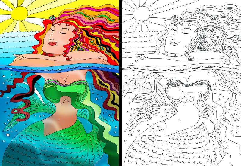 美人鱼五颜六色的画象和线艺术 库存例证