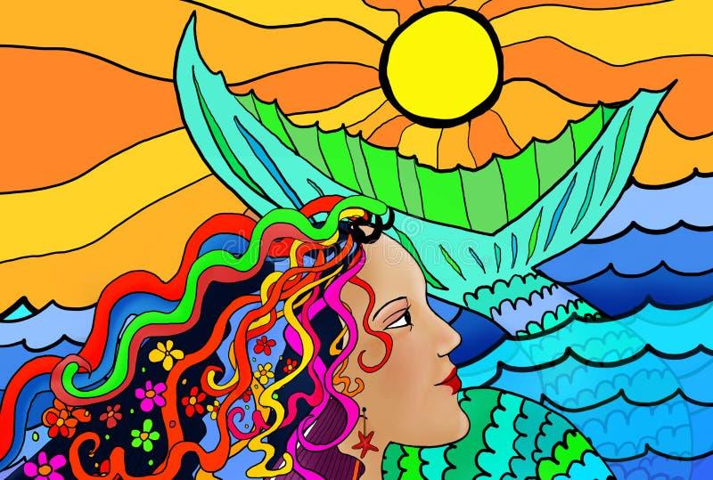 美人鱼五颜六色的画象 向量例证