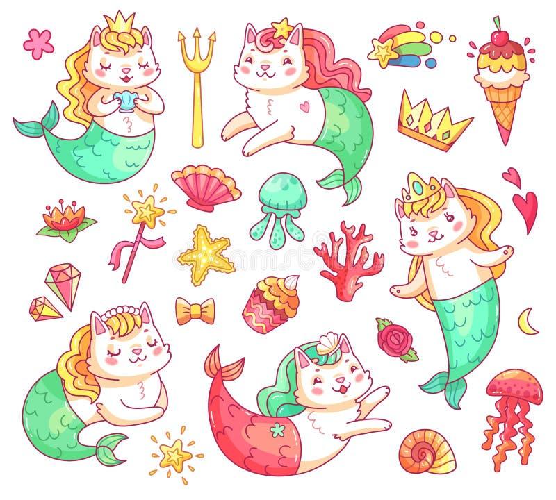 美人鱼全部赌注猫漫画人物 水下的猫美人鱼传染媒介集合 皇族释放例证