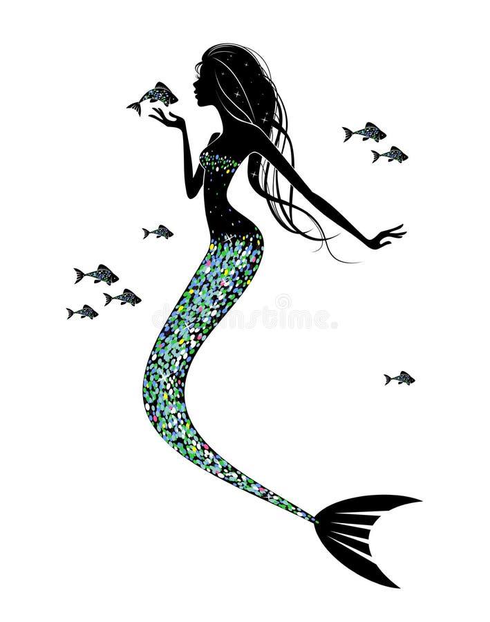 美人鱼剪影 向量例证