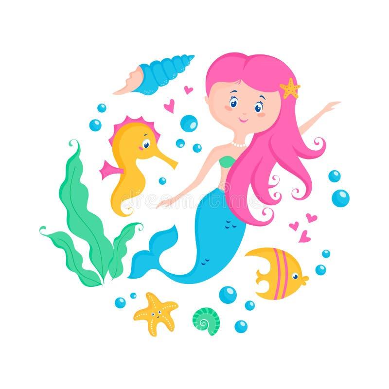 美人鱼和海洋动物 : 向量例证