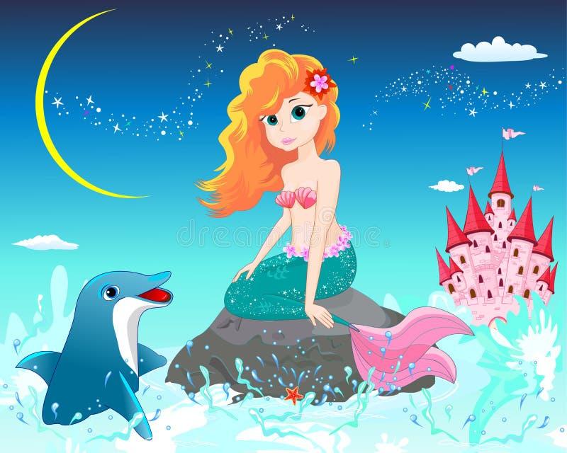 美人鱼和海豚 库存例证