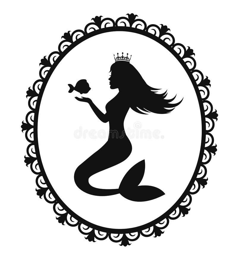 美人鱼和鱼在一个黑框架 皇族释放例证