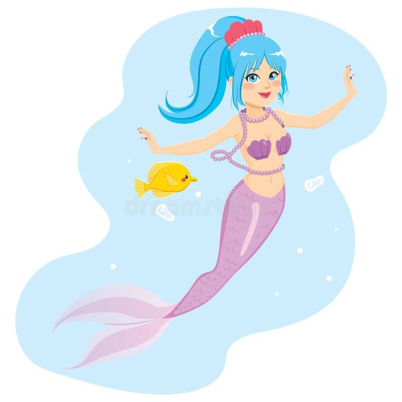 美人鱼和鱼 库存例证