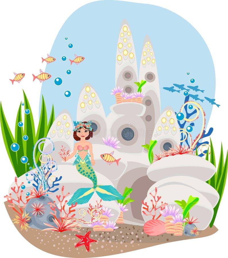 美人鱼和水下的城堡 皇族释放例证