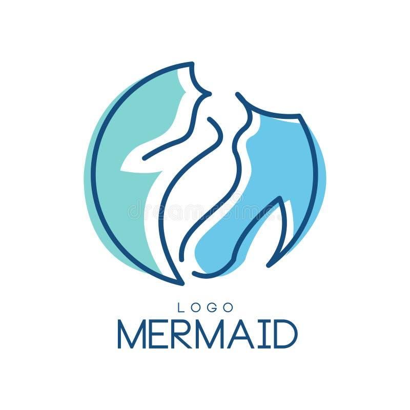 美人鱼商标,徽章的,邀请卡片,横幅在白色背景的传染媒介例证设计元素 库存例证