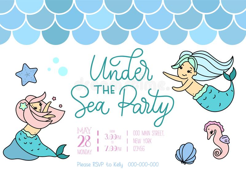 美人鱼小女孩美人鱼的党邀请 2007个看板卡招呼的新年好 库存例证