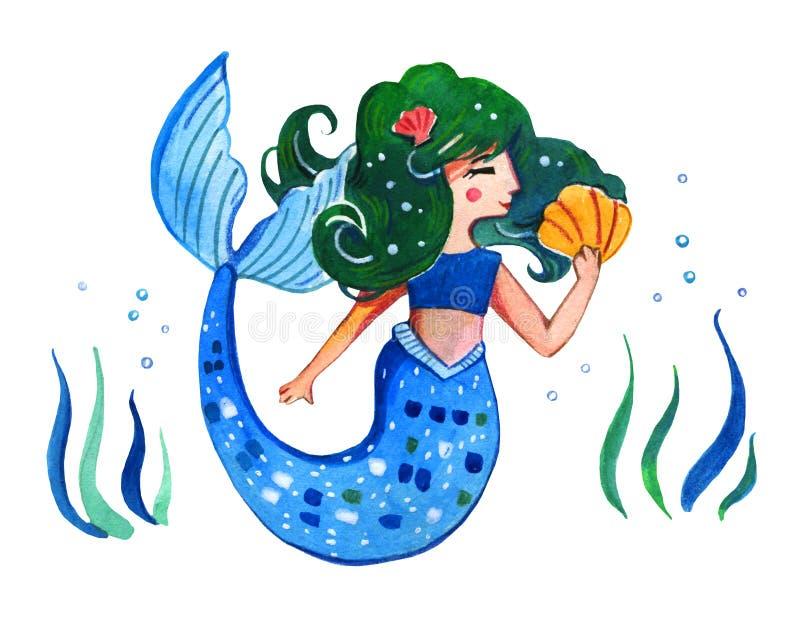 美人鱼的水彩手拉的例证儿童poste的 向量例证