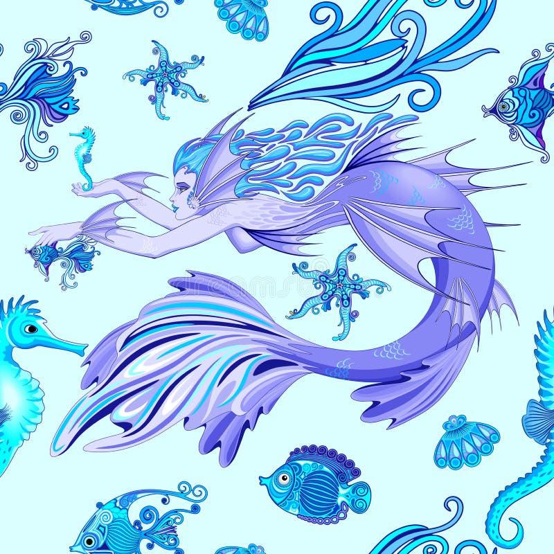 美人鱼紫色神仙的生物无缝的样式传染媒介纺织品设计 库存例证