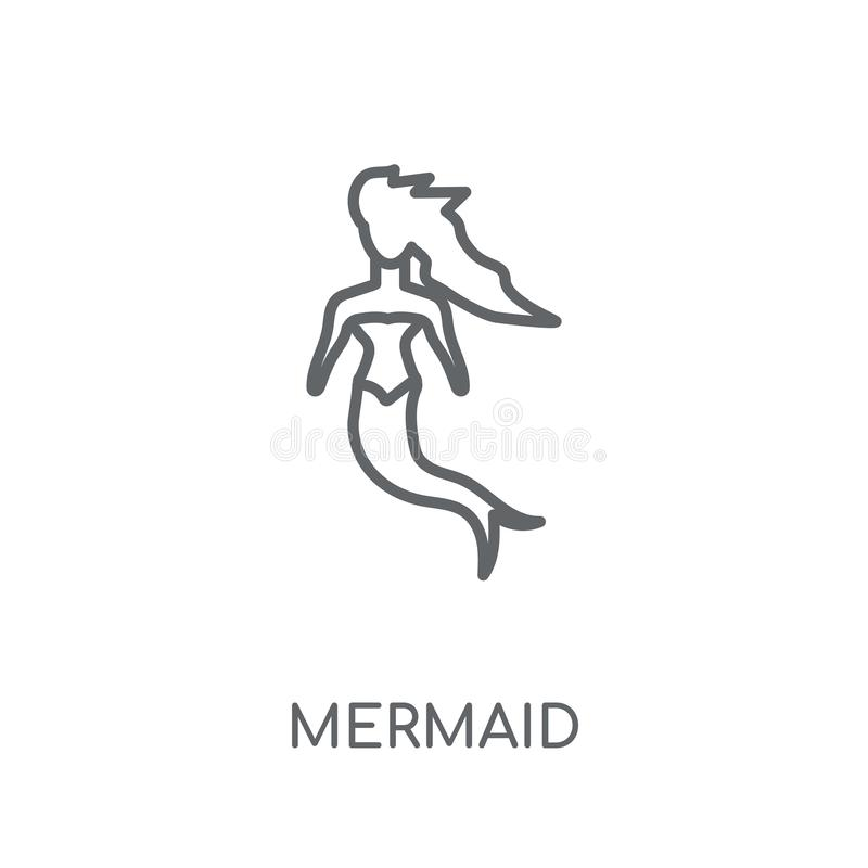 美人鱼线性象 在丝毫的现代概述美人鱼商标概念 向量例证