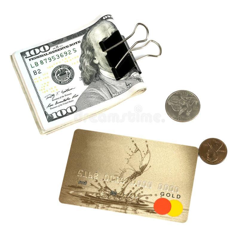 美元、塑料卡片和分 免版税图库摄影