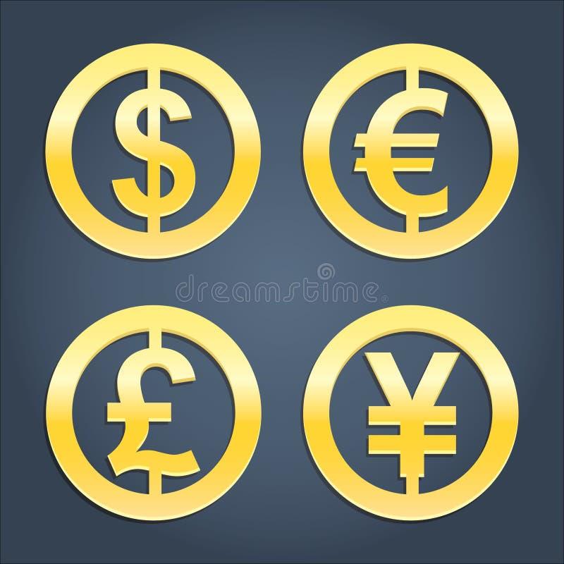 美元、欧元、磅和日元金标志汇集 皇族释放例证