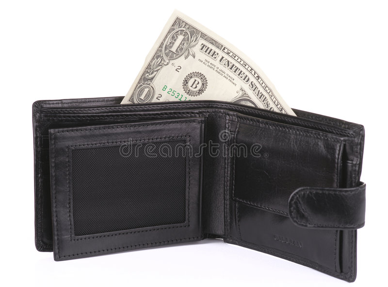 美元一开放钱包 免版税库存图片