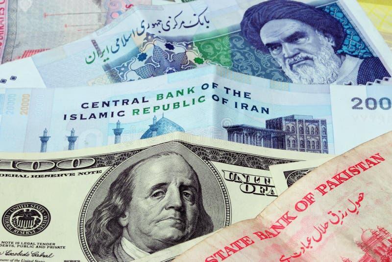 美元伊朗我们 库存照片