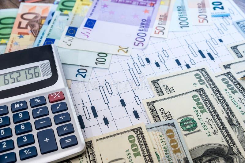 美元和欧洲票据 库存照片