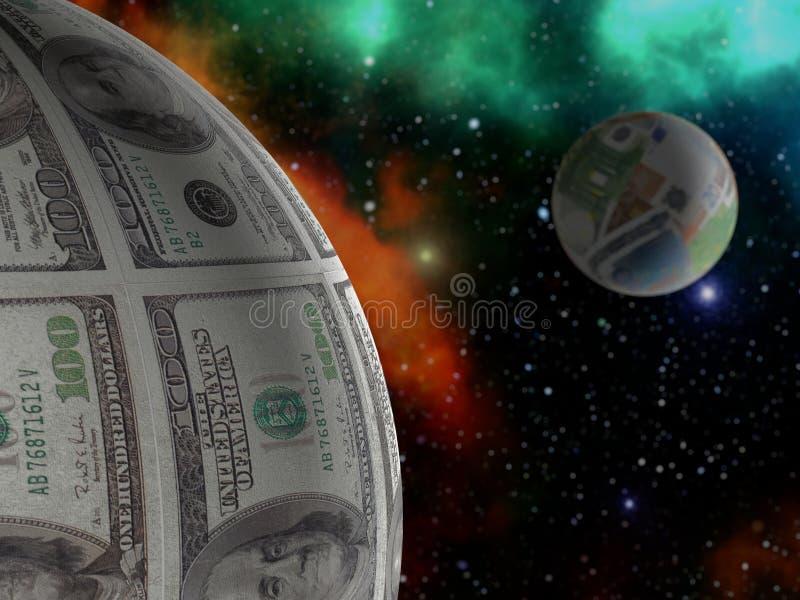 美元和欧洲行星 向量例证