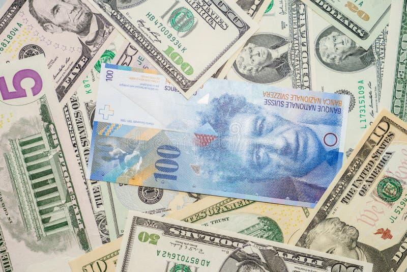 美元和瑞士法郎 免版税库存图片