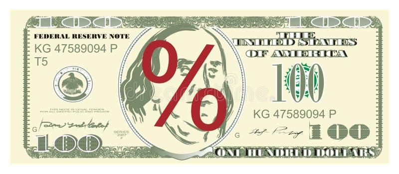 美元和百分之 库存例证