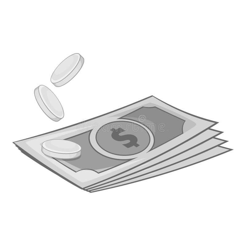 美元和硬币象,单色样式 皇族释放例证