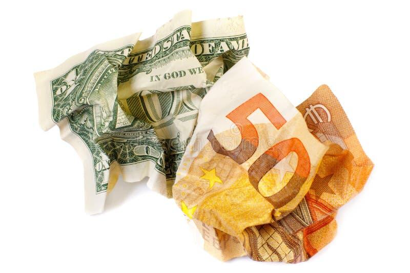 美元和50欧元钞票 被弄皱的钞票特写镜头 金钱的概念纸 放弃的概念多余 库存照片