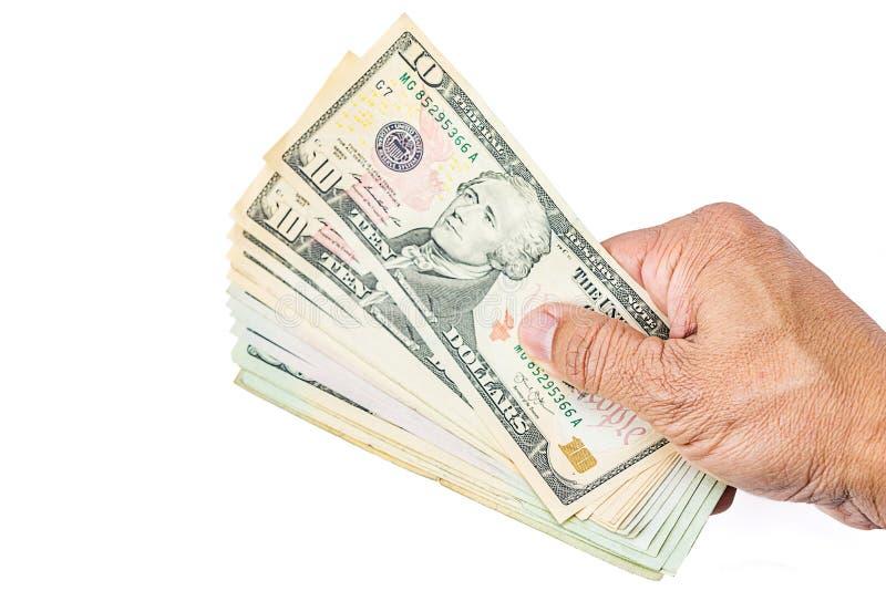 美元在手边 库存图片