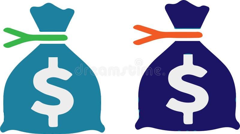 美元在白色背景的袋子象 向量例证
