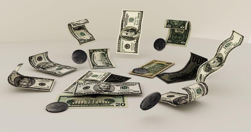 美元在白色背景驱散 免版税库存照片