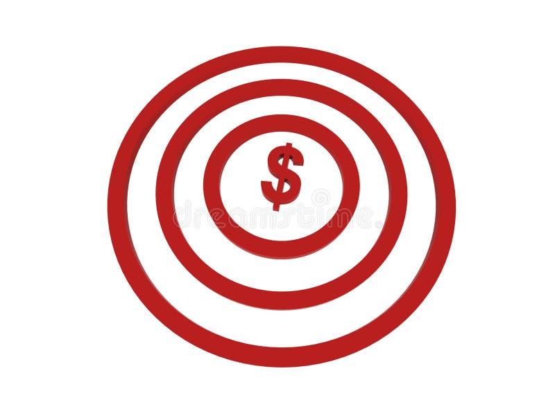 美元在目标的中心 向量例证