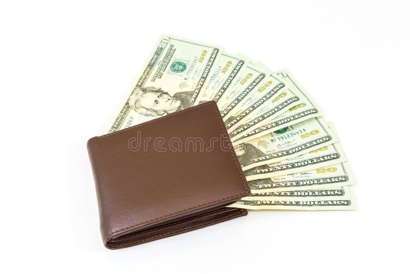 美元在袋子的金钱在白色背景 库存照片