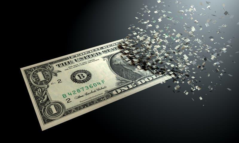 美元在黑背景消失 免版税库存图片