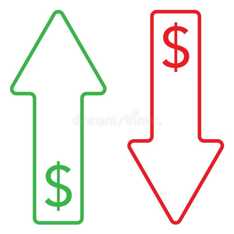 美元增长的和下跌的颜色象  向量例证