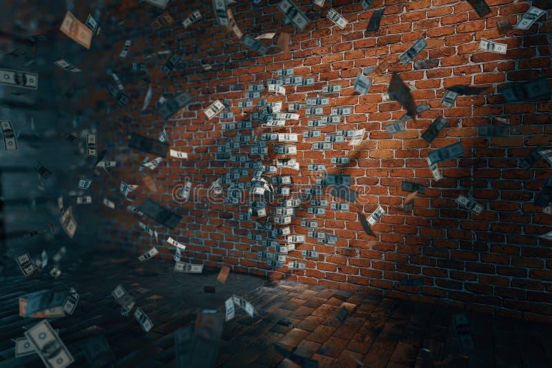 美元妇女剪影和钞票 向量例证
